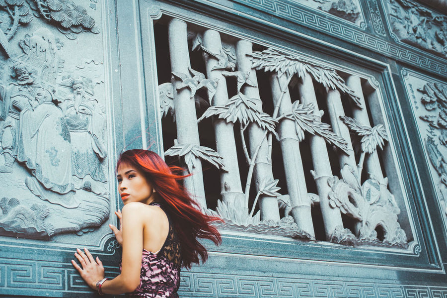 Adult Architecture Beautiful Woman Building Exterior Built Structure Casual Clothing Day Leisure Activity Lifestyles One Person Outdoors People Real People Side View Standing The Portraitist - 2017 EyeEm Awards Young Adult Young Women Place Of Heart