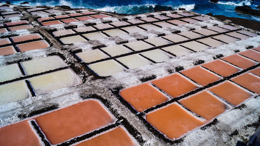 La Palma, Canarias Salt Architecture Cold Temperature Day Evaporation Evaporation🌊⬆💨❄⬇💧 Food And Drink High Angle View Ice In A Row La Palma Nature No People Orange Color Outdoors Pattern Roof Roof Tile Salt - Mineral Salt Flat Shape Snow Water Winter