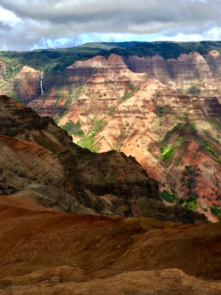 Waimea Canyon Valley Waterfall Hiking Mountain Nature Beauty In Nature Landscape Tranquility Scenics Tranquil Scene Geology Physical Geography Sky No People Day Mountain Range Outdoors Scenery