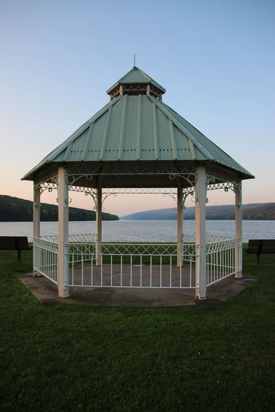 gazebo views Architecture Built Structure Day Gazebo Grass Horizon Over Water No People Outdoors Sunset Water