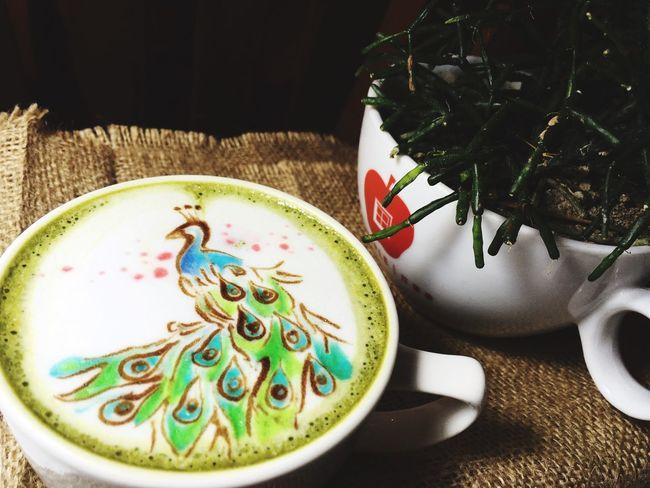 The peacock. Coffeeart Bookmarkcoffee Greentealatte Art Is Everywhere