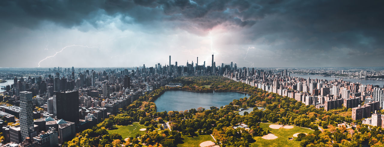 Central park aerial view in manhattan, new york during a heavy storm, lightning.