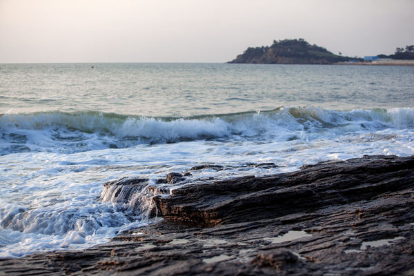 Beach Geology Horizon Over Water Motion Outdoors Physical Geography Power In Nature Rippled Rock Rock - Object Rocky Beach Rough Scenics Sea Seascape Seascapes Seaside Splashing Surf Surge Vacation Water Waterfront Wave