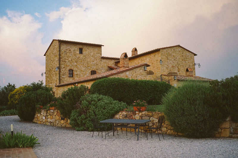 Sunset at Tuscany Villa, Italy Architecture Built Structure Building Exterior Building Sky Plant House Nature Tree No People Table Cloud - Sky Day Seat Residential District Outdoors History The Past Front Or Back Yard Absence Hedge Tuscany Italy Vacation Holiday