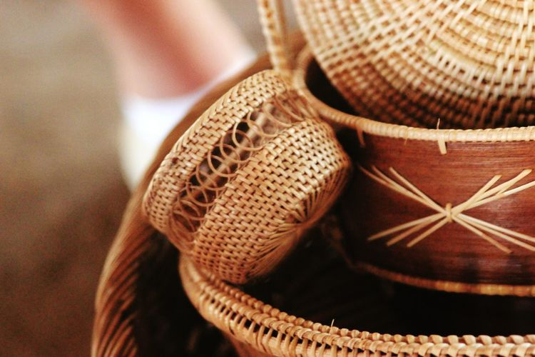 Close-up Of Patterned Whicker Baskets