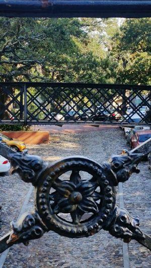 Metal Sunlight Outdoors No People Day Weapon Close-up Southern Charm ~ Savannah, GA Historic District Savannah Street Scene Factors Walk Wrought Iron Design Wrought Iron Railing