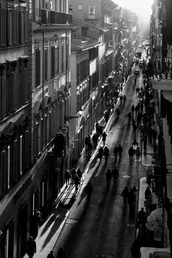 Winter in Via dei Condotti, Rome Architecture City City Life Crowd High Angle View High Resolution Illuminated Italy Rome Street Urban Urban Landscape Via Dei Condotti Winter