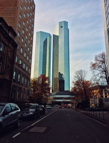 City Architecture Building Exterior Built Structure Car Transportation Skyscraper Road Land Vehicle No People Street Outdoors Sky Clear Sky Day Modern Tree The Way Forward Cityscape VSCO Deutschland Germany Germany Photos Official EyeEm © Frankfurt Frankfurt Am Main