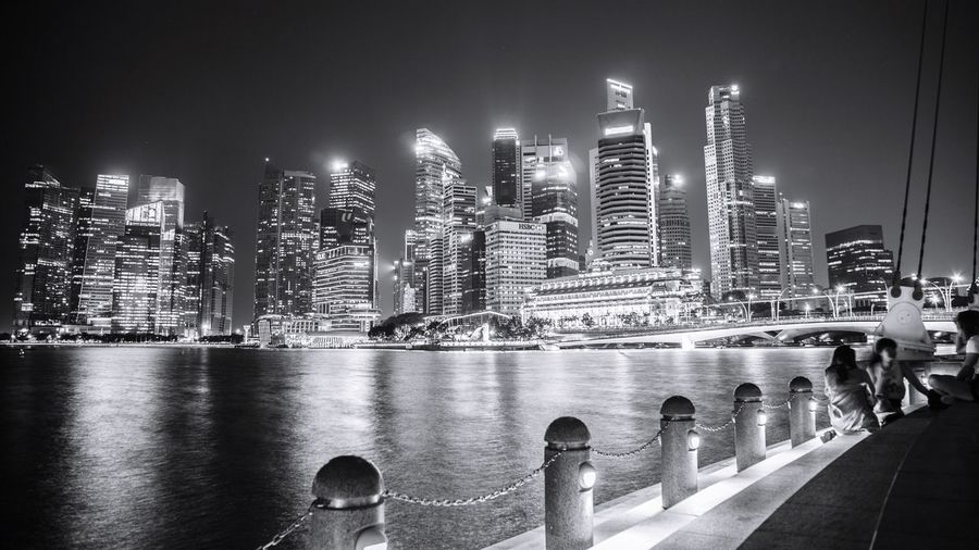 Marina Bay Night Life Building Exterior Architecture City Illuminated Built Structure Office Building Exterior Night Urban Skyline Tall - High Cityscape