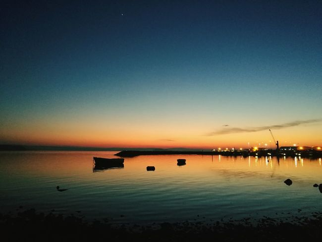 Tranquility Sea Nautical Vessel Beauty In Nature Reflection Star Gazing Light And Shadows Travel Destinations Horizon Over Water Majestic Sky Sunset Lovers My Medicine Stars At Night Bright Colors Love ♥ HuaweiP9