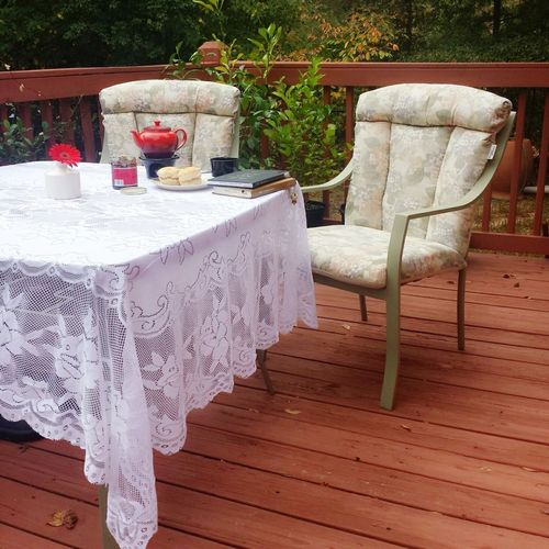 Furniture Tablecloth Table Chair Outdoors Deck Deck Chairs Decklife Tea Time Relaxing Time Relaxing At Home