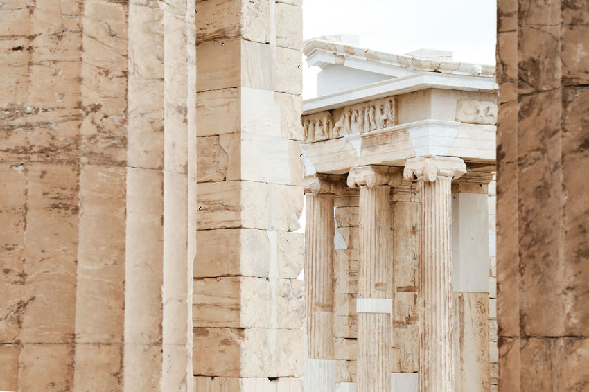 Close up view of the Parthenon through the temple of Athena, Athens, Greece. Ancient Antique Architecture Atenea Democracy European  Greek Parthenon Philosophy Politics Sócrates Tourist Travel Wonders Of The World Acropolis Art Background Backgrounds Closeup Greece History Monument Mythology Temple Tourism Destination