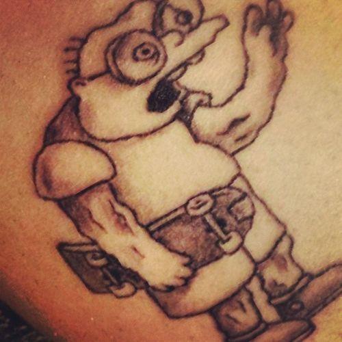 Black n white mole man, had fun doing this one @grandmayoshi Simpsons Moleman Ink Blacknwhite fridaylatenighttat cartoontattoo artist4life