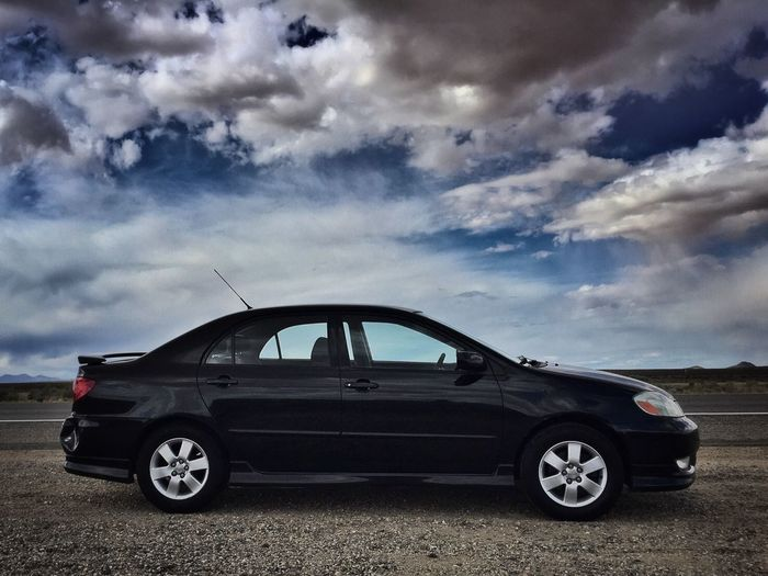 Desert Traveler Toyota Toyota Corolla Toyotacorolla Desert Traveler Best Road Trip Roadtrip Road Road Trip Best Road Trip Car Long Drive Long Drives ❤ Driver Best Commuter Good Car Efficiency Stylish Car In The Desert Out On The Road Long Trip 2003 Toyota Corolla Aerodynamic Aerodynamics Skyporn Sky And Clouds Sky