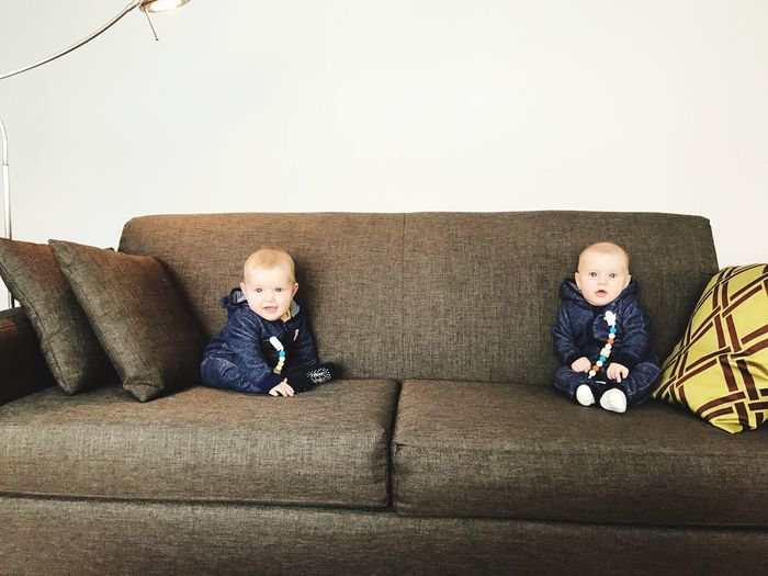 Double Hapiness Sofa Childhood Boys Brother First Eyeem Photo