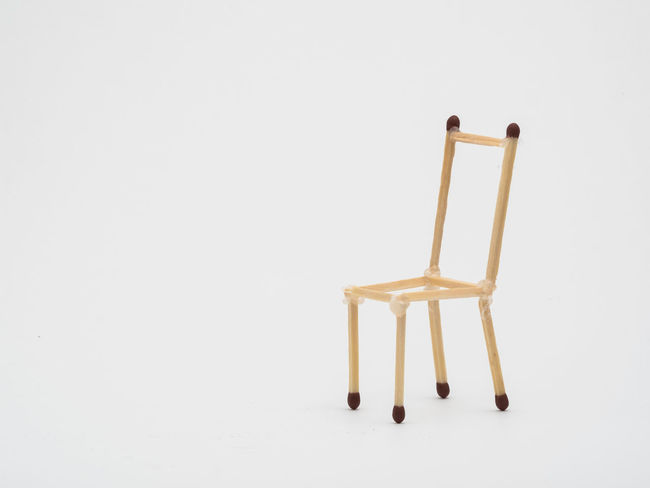 Art ArtWork Chair DIY DIY At Home Diy Project Focus On Foreground Frame Frame Of A Chair Furniture Design Home Made Made Of Match Match Match Sticks No People Play Seat Selective Focus Sticks Still Life Studio Shot Toy White White Background Wood - Material