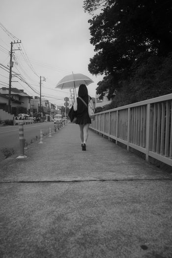 The Way Forward Full Length Real People One Person Lifestyles Walking Umbrella Architecture Rear View Rain