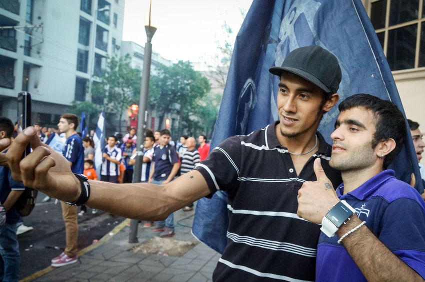 "Two people amateur football team ""Talleres de Córdoba"" selfie image is taken to the victory celebrations in the center of the city of Cordoba, Argentina on the afternoon of October 27, 2015 Afternoon Amateur Celebrations Center City Football Image People Selfie ✌ Taken Two Persons Victory"