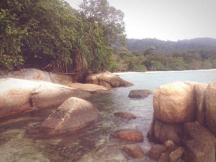 Rocks Lagoon Ocean Beach Travel Calm Hide Paradise in Pangkor Malaysia South East Asia