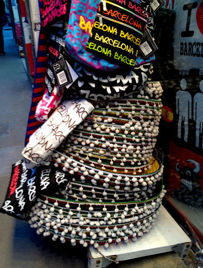 Barcelona Barcelona España Barcelona, Spain Choice Day España For Sale For Sale 100$ Multi Colored No People Outdoors Pavement Sale Retail  Sombre Sombrero SP Spanish Hat Spring Store Street Text Tourist Hat Variation
