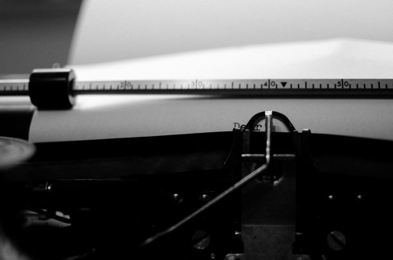 Close-Up Of Paper In Typewriter