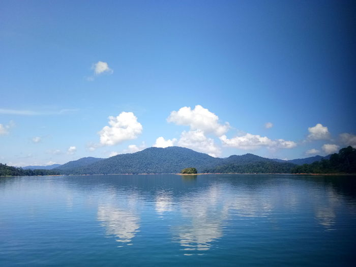 Little Island Island Bayang Lake View Water Mountain Blue Sky Cloud - Sky Mountain Range Calm Mountain Road Tranquil Scene Tranquility Scenics Idyllic