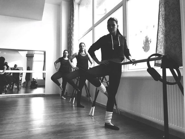 Barre Indoors  Full Length Real People Exercising Young Adult Lifestyles Young Women
