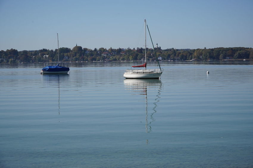 two Sailboats Germany Ammersee Nautical Vessel Yachting Transportation Mode Of Transportation Water Sailboat Sky Beauty In Nature Sea Pole Tranquility Nature No People Tranquil Scene Sailing Scenics - Nature Outdoors Yacht Bavarian Lake, Time Off,