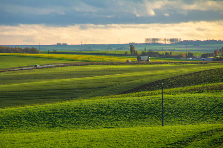 Landscape Environment Scenics - Nature Land Sky Green Color Field Tranquil Scene Cloud - Sky Plant Agriculture Rural Scene Beauty In Nature Nature Grass Tranquility Farm No People Day Outdoors