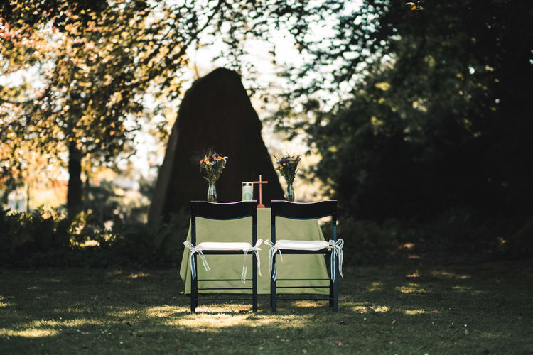 Chairs and table outdoors