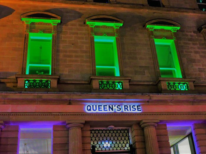 Queen Queening Queens Architecture Building Exterior Built Structure Communication Day Green Color Illuminated No People Outdoors Queenstown Text Yeswedo