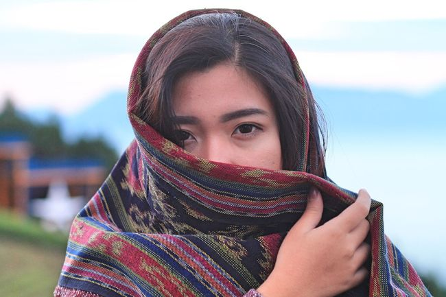 Adult Beautiful People Beautiful Woman Beauty Close-up Day Human Body Part Human Eye Human Hand Human Lips Looking At Camera One Person One Woman Only One Young Woman Only Only Women Outdoors People Portrait Women Young Adult Young Women Tenun Tenun Ikat Indonesia EyeEm Selects EyeEm