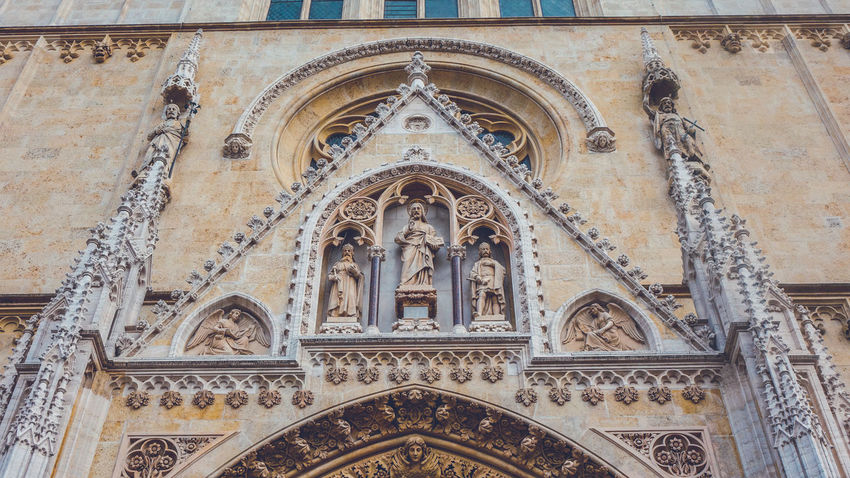 Facade details of Zagreb Cathedral, Croatia Basilica Cathedral Croatia Exterior Gothic Historical Building Sightseeing Zagreb Zagreb, Croatia Architecture Building Building Exterior Exterior Design Gothic Style Landmark Low Angle View Place Of Worship Religion Religious Architecture Sight