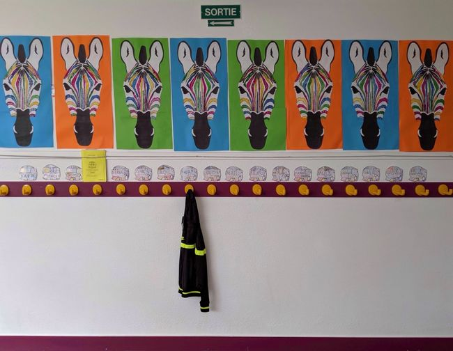 wahrol kids School EyeEm Best Shots EyeEm Selects Color Colors Kid Kids Multi Colored Hanging Tiled Wall Coathanger Clothespin