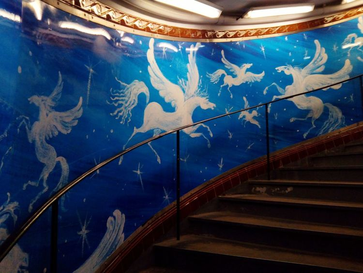 Travel Trip Paris France Metro Art Pegasus Staircase Steps And Staircases Blue No People Indoors