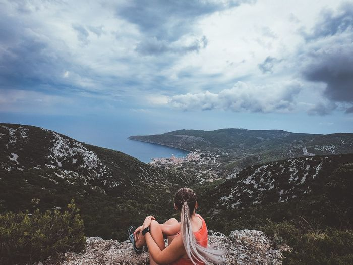 View EyeEmNewHere Scenery Vis Croatia Cloud - Sky Real People One Person Sky Leisure Activity Human Body Part Lifestyles Personal Perspective Beauty In Nature Outdoors Women