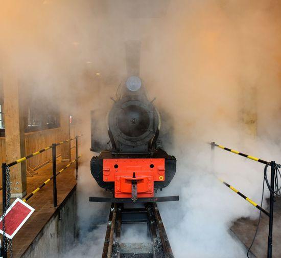 Steam train in the hangar