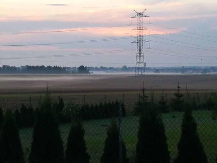 Tree Electricity Pylon Dawn Rural Scene Technology Fog Electricity  Fuel And Power Generation Steel Cable