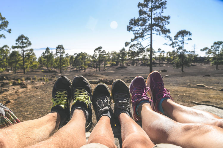 Low section of friends wearing shoes on land in forest
