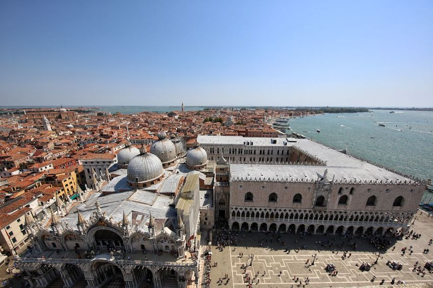 St Mark's Square St Mark's Tower St Mark's Square St Mark's Tower Venice Canals Venice, Italy Arch Architecture Blue Building Exterior Built Structure City Cityscape Clear Sky Day Dome High Angle View History Horizon Over Water Nature No People Outdoors Sea Sky Travel Destinations Water