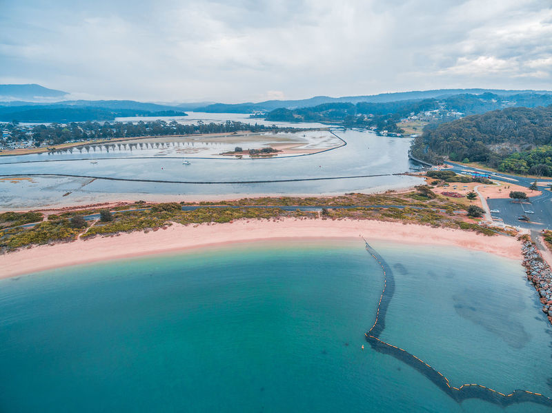 Aerial view of coastline near Narooma at dusk, NSW, Australia Australia Drone  Aerial Landscape Aerial View Beach Beauty In Nature Day Drone Photography Landscape Mountain Nature No People Outdoors Sea Sky Water