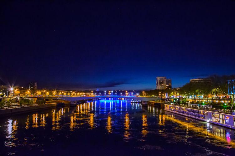 Bridge Canal City City Life Dark France Glowing Illuminated Light Night Outdoors Reflection River Rouen Sky Twilight Water