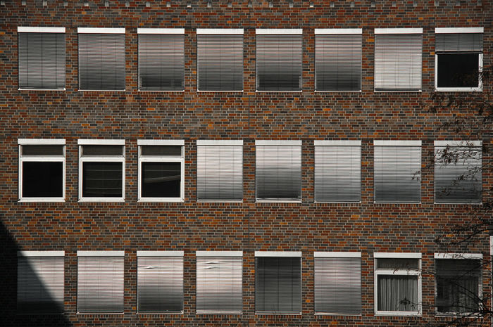 Architecture Blinds Bricks Brickstones Closed Day Facade Building Factory Full Frame No People Open Outdoors Pattern Wall Water Windows Canon 5D Mark II