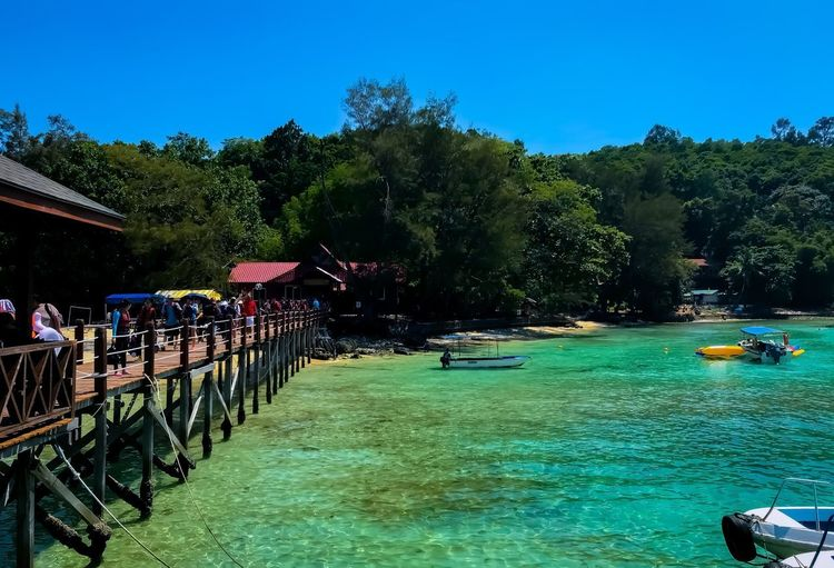 Sapi Island Travel Streamzoofamily Thisismyworld Travel Destinations Malaysia Travel Photography Blueblueblue Tree Plant Sky Nature Water Architecture Group Of People Clear Sky Sunlight EyeEmNewHere