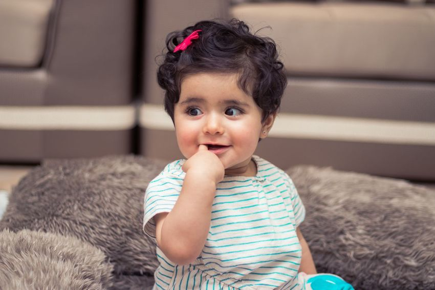 Finger Shy Baby Girl Child Childhood Innocence One Person Cute Sitting Portrait Smiling Baby Young Girls