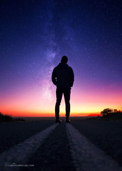 The Drifter Tranquil Scene Landscape Tranquility Night Star Field Outdoors Solitude Road Sky Travel Wanderlust Beauty In Nature Sunset Silhouettes Broken Hill Astrophotography Art Colour Of Life