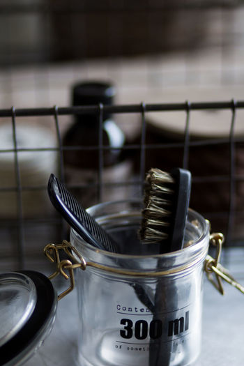 Metal Indoors  Close-up Container No People Household Equipment Still Life Large Group Of Objects Focus On Foreground Home Domestic Room Selective Focus Appliance Crockery Silver Colored Shaving Brush Barber Mensfashion Mensstyle Selfcare Sweden