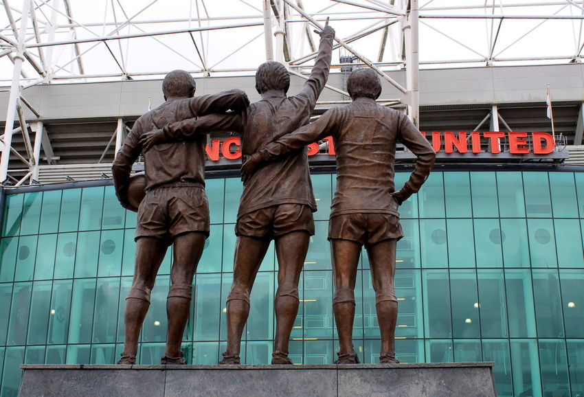 The Holy Trinity of Bobby Charlton, George Best and Dennis Law outside Old Trafford Classic Football HolyTrinity Leisure Activity Lifestyles Manchester Oldtrafford Premier League Red Sport Statue