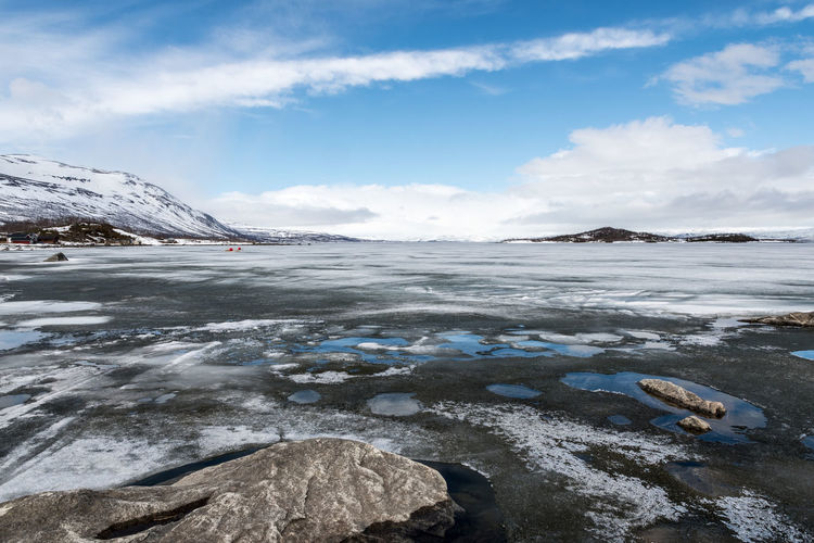Frozen Panorama 2 Abisko Beauty In Nature Cloud - Sky Cold Temperature Day Frozen Glacier Ice Iceberg Landscape Mountain Nature No People Outdoors Scenics Sky Snow Snowcapped Mountain Sweden Tranquil Scene Tranquility Water Winter