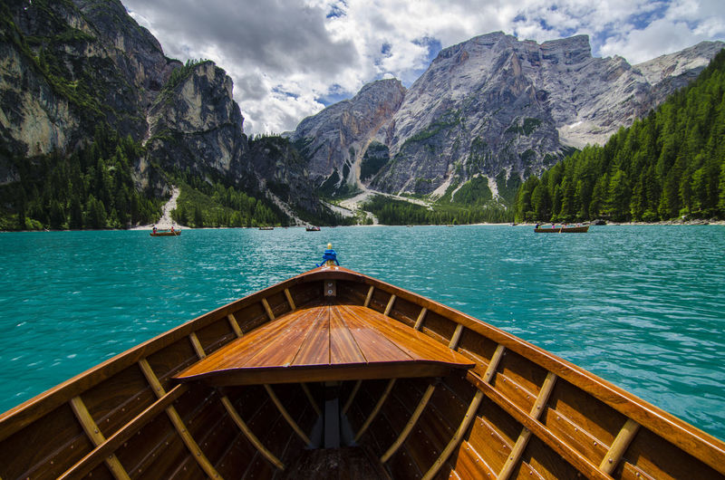 The boat and the lake Beauty In Nature Day Lago Di Braies (Pragser Wildsee) Lake Mountain Mountain Range Mountains Nature No People Outdoors Rock - Object Scenics Sky Tranquil Scene Tranquility Travel Destinations Vacations Water